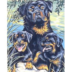Canevas Famille Rottweiler