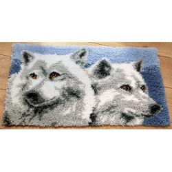 Kit tapis au point noué Têtes de loups