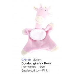 Doudou girafe rose