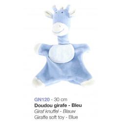 Doudou girafe bleue