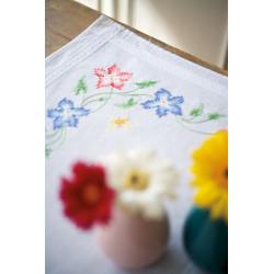 Kit chemin de table Fleurs roses et bleues