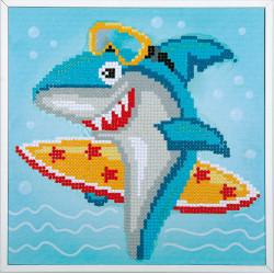 Kit Diamond painting kit Surfing shark